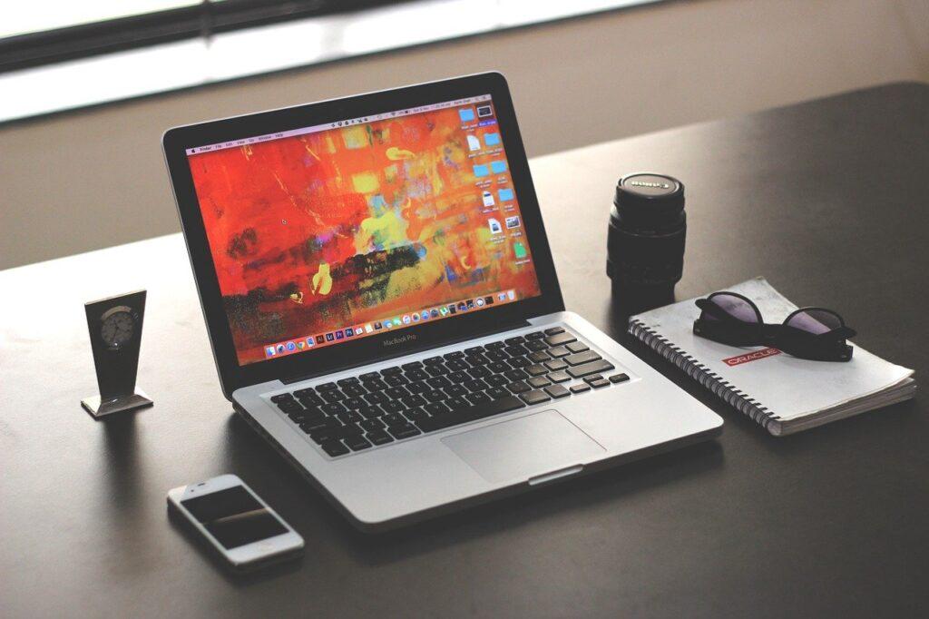 laptop, mockup, business